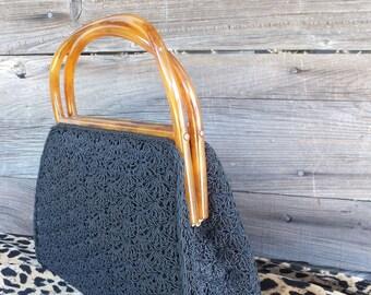 Vintage 50s/60s Black Crochet or Woven Purse, Bakelite Handle, Top Handle Handbag