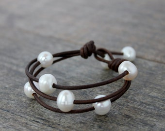 Leather Bracelet/Leather and Pearls/Multi Strand Leather Bracelet/ Seaside Bracelet/Coastal
