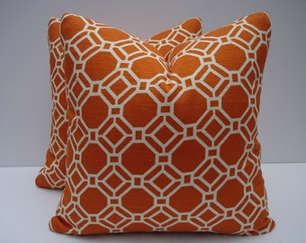Geometric Pillow Covers Orange Pillows Handmade Decorative Throw Pillows One Pair 18 x 18 Toss Pillows Accent Pillows Orange Off White