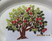 mosaic apple tree ceramic leaves apples blossom trunk branches