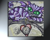Cheshire Cat And Heart Collage Mixed Media Clock Original  Artwork 12x12 Time To Forget