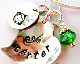 Heart and Monkey Necklace -Sterling Silver Hand Stamped Charm Name- made to order