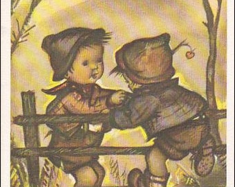 Mainzer postcard Alfred Mainzer, #677, Little Folks, Little boy helping friend jump over fence vintage postcard, artist signed Bonnie