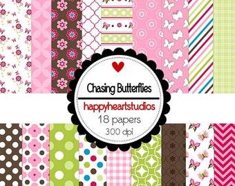 Digital Scrapbook  ChasingButterflies-INSTANT DOWNLOAD