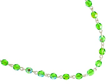 One Meter (3.28 Feet) Czech Glass Beaded Chain-Peridot AB with Silver Link 5mm (5018)