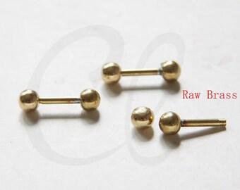 4 sets of Raw Brass Screw Bar - 20mm (3308C-I-496)