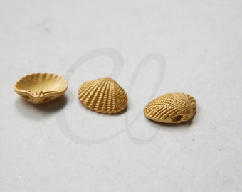 One Piece Premium Matte Gold Plated Brass Base Charm - Shell 13x12mm (68Z-N-8)