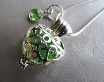 Birthstone Locket Necklaces - Sea Glass Heart Lockets - Birthday Month - Choose Your Color - Locket Pendant with Sea Glass