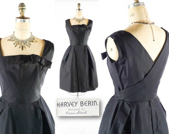 "Vintage 50s Dress // 1950s Dress // HARVEY BERIN Dress // Little Black Dress // Silk Dress // Square Neckline Dress - sz S - 27"" Waist"