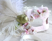The Vixen - Grand Masquerade Ball Mask in Pale Pink and Gold with Ostrich Plumes and Ivory Peacock Eyes - OOAK
