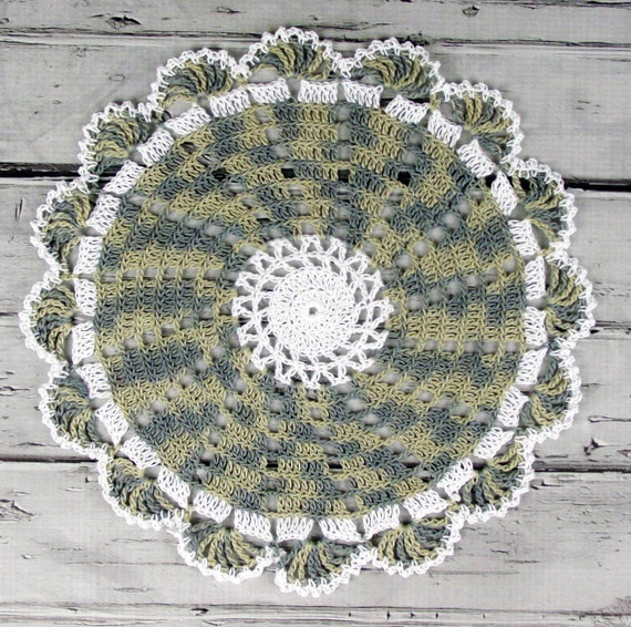 Lovely Crocheted White Variegated Avocado Sage Table Topper Doily - 10 1/2""