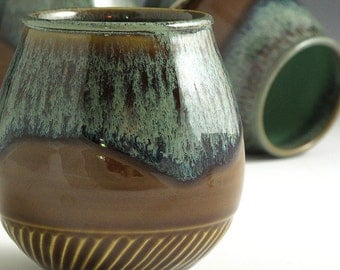 4 Handthrown, Porcelain, Hand Carved, Elegant, Stemless 16 OZ, Amber and Moss Glazed, Wine Glasses, John Bauman
