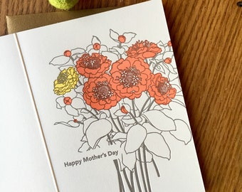 letterpress mother's day card with flowers, card for mom, nature card, blank greeting card, card for mother's day, wildflower card LarkPress