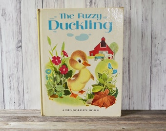 Fuzzy Duckling Book Hardcover Big Golden Book 1949 Kids Book antique Book Farm Book