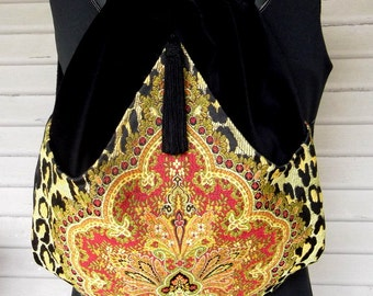 Red Medallion Leopard Print Backpack Renaissance Backpack boho backpack boho slingbag black velvet bag backpacks boho cinch bag tapestry