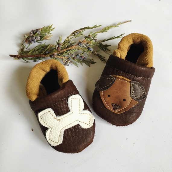 Dog and Bone Soft Soled Leather Shoes Slippers Baby and Toddler