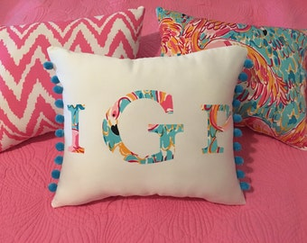 New monogram pillow made with Lilly Pulitzer Peel N Eat fabric