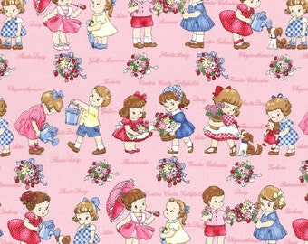 FABRIC LECIEN RETRO Garden Play Stripe on Pink Old New 30s 1/2 Yard
