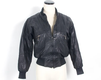 VTG 80's Cropped Black Leather Bomber (Small) Retro Rocker Zip Up Rocker Motorcycle Jacket Coat Winter High Collar