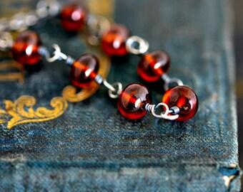 Garnet Jewelry, Garnet Necklace, January Birthstone, Sterling Silver, Burgundy, Oxblood Red, Wire Wrapped, PoleStar
