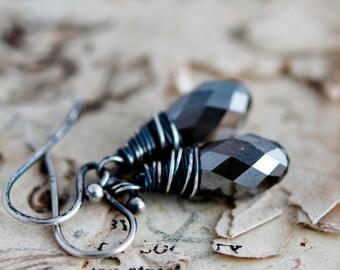 Drop Earrings, Crystal Earrings, Crystal Jewelry, Wire Wrapped, Dangle Earrings, Pewter Crystal, Gray Crystal, Sterling Silver, PoleStar