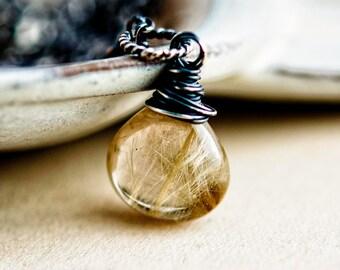 Rutilated Quartz, Rutilated Necklace, Quartz Necklace, Quartz Pendant, Golden, Sterling Silver, Wire Wrapped, Gold, Gemstone, PoleStar