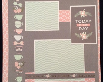 Premade Scrapbook Layout, Two Page Scrapbook Layout, Friendship Pages, Tea Cups, Today, Scrapbook Album Layout, Pink Green and Gray Layout