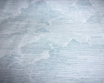 Quilt Fabric  2 Yard Cut with Blue Lines with Clouds