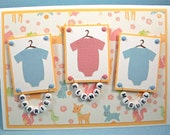 Personalized Triplet Onesie Card Babt for Boys or Girls