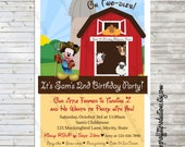 Mickey had a farm birthday party invitation - digital file