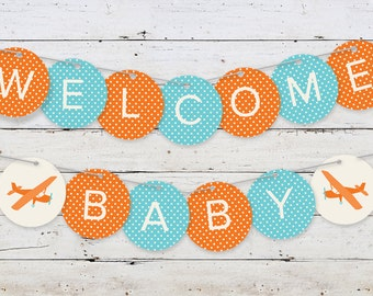 Printable Airplane Baby Banner | Welcome Baby | Boy | Digital File | Baby Shower Decoration