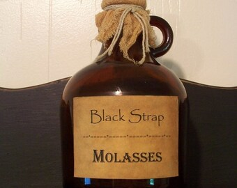 Vintage Amber Bottle Jug Jar with Primitive Label Black Strap Molasses / Tied with Cheesecloth