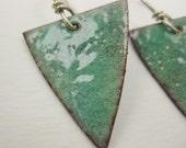 Celadon Green Enameled Earrings