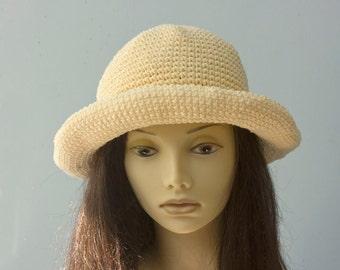 Summer Sun Hat, Cotton Hat, Spring Hat,  Brimmed Sun Hat, Custom - Chose Color, Beach Hat, Crochet  Hat, Summer Hat, Vegan Hat