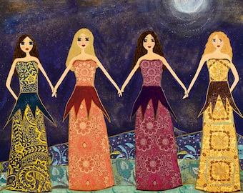Four Girls Sisters Best Friends Art, Four Best Friends Art, Four Sisters Art, Friendship Friends Art Block, Friendship Whimsical Art