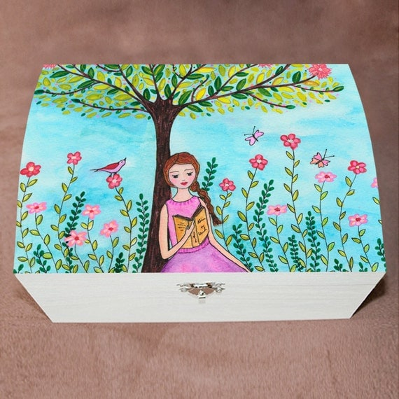 Jewelry box large wooden jewelry box handmade by sascalia for Girls large jewelry box