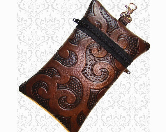 Cell phone bag chocolate brown, electronics case, faux tooled leather 2 pockets vegan leather, small travel bag, essentials bag, wristlet