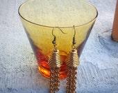 Chain Link Disco Tassel Gold Tone Dangle Earrings