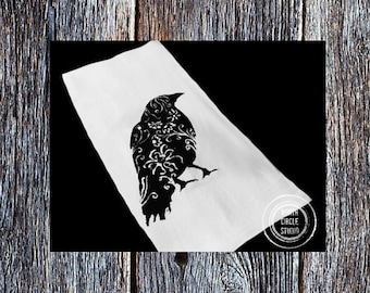 Flour sack dish towel, kitchen towel,cotton dish towel, Hostess gift ideas, Housewarming gift ideas,rustic wedding gift idea, Bird #00201504