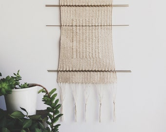 cotton and brass - breathing room | hand woven wall hanging tapestry weaving