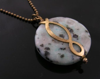 Eternity Necklace, Sesame Jasper Necklace, Very Large Gem Necklace, Jasper Jewelry, Infinity Jewelry, Eternity Jewelry
