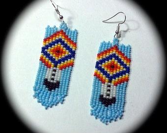 Diamond and Feather Native American Style Handwoven Long Dangle Seed Bead Earrings Fashion Earrings native bohemian ethnic southwestern chic