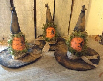 Primitive Grungy Witch Hat Ornies Pattern