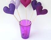 Bunch of Purple Felt Hearts - Set of 5 Plush Handmade Felt Love Hearts on sticks in shades of purple. Heart Toppers. Felt Heart Sticks.