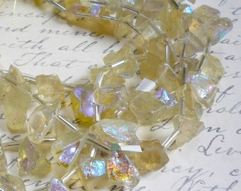 25% Off Sale Mystic Lemon Quartz Briolette Beads,  8 Inches, Aqua Aura  Nugget Gemstone