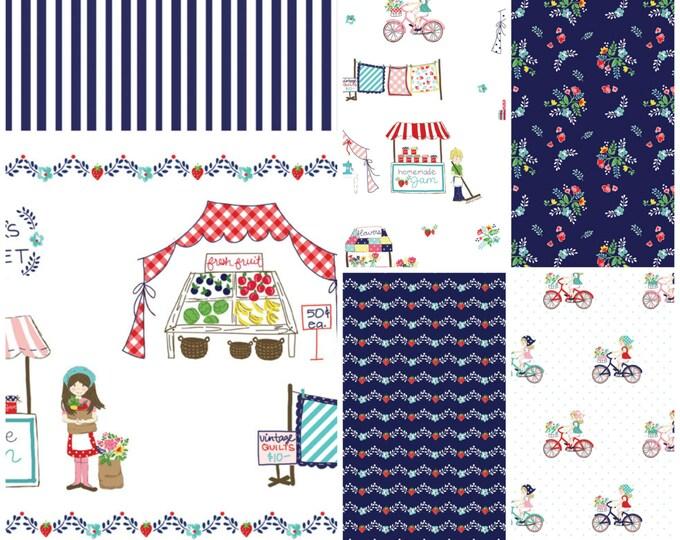 Vintage Market by Riley Blake - cotton fabric, navy palette - fat quarter bundle - 6 pieces