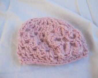 Pink Flower Accent Preemie Beanie (5538)