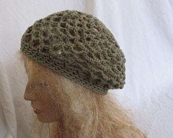 Khaki Green Lacey Slouchy Beret/Tam/Dreadlock Hat (5275)