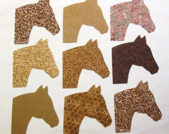 Set of 9 Brown Horse Head Iron-On Fabric Appliques for Quilts, Apparel, Etc.