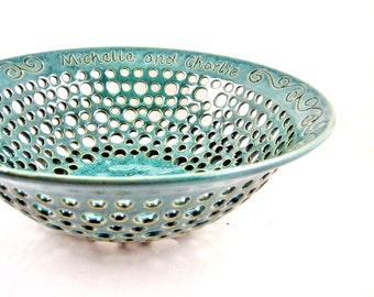 Personalized Pottery Wedding Gift, Sea foam green fruit bowl with engraved names and date for the Couple, Handmade Pottery Home decor